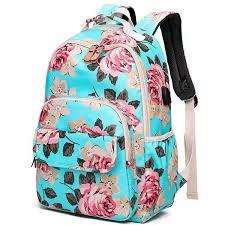 <b>Fashion Flower</b> Printing Backpack Women Waterproof USB Laptop ...