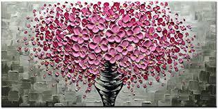 Desihum-3D Art Pink Flowers Oil Paintings On ... - Amazon.com