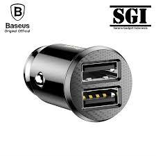 <b>BASEUS</b> ORIGINAL Car Charger <b>Grain</b> 2 <b>Dual</b> USB Ports Adapter ...