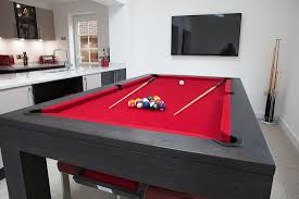 pool table dining tables:  dining room trendy living ideas with convertible tables and black wooden billiard table red color cloth