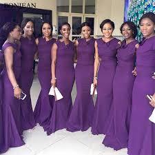 <b>Elegant Purple Mermaid</b> Bridesmaid Dresses Unique Neckline ...