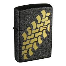 <b>Зажигалка ZIPPO Tire</b> Tracks с покрытием Black Crackle™, чёрная ...