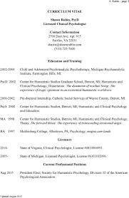 curriculum vitae shawn rubin psyd licensed clinical psychologist psyd 2002 center for humanistic studies graduate school detroit mi humanistic and clinical