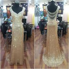 <b>Luxury Formal Evening</b> Dresses V Neck Beaded Crystal Long Prom ...