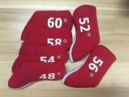 <b>6pcs</b> Red <b>Wedge</b> Set <b>Golf Head Covers</b> Neoprene Case For 48 - 60 ...