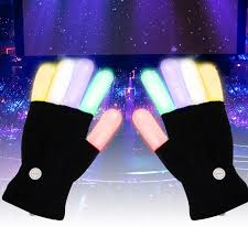 <b>1 Pair Colorful</b> LED Luminous Gloves Cool Party Fluorescent Dance ...