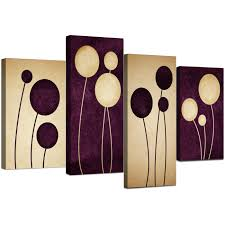 Wall Art Sets For Living Room Abstract Canvas Prints In Purple For Your Living Room 4 Panel