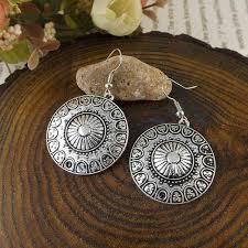 Olaru <b>Trendy</b> Vintage Aretes Silver <b>Round Drop Earrings Circle</b> Ear ...