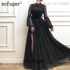 2019 Sexy dark green evening dresses long sleeve lace robe de ...