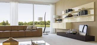 beautiful contemporary living room design ideas with brown leather sofa also cream color laminated wall cabinet beautiful brown living room