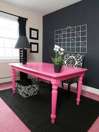 femininehomeofficewithblackwhiteandpink black and white office