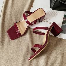 Slip On Slippers Women 2019 Trendy <b>Square</b> Heels White Women ...