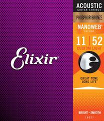 <b>Elixir Acoustic Phosphor Bronze</b> Strings with NANOWEB Coating 11 ...