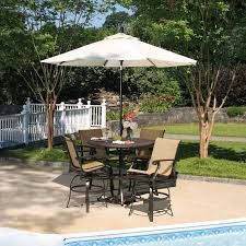 bar height patio chair: bar height patio set with white patio umbrella and  height patio chairs full