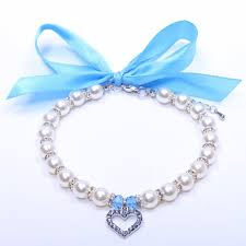 <b>Pet Dog</b> Pearls Necklace Collar with Bling Heart Charm <b>Pet</b> Puppy ...