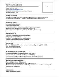 sample resume format for fresh graduates  one page format    sample resume