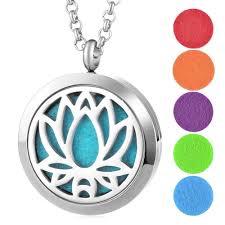 Aromatherapy <b>Lotus</b> Essential Oil Locket Necklace | Namaste Golden