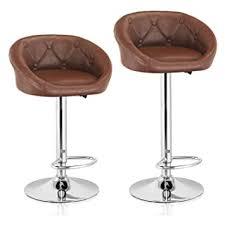 MBTC Delton Cafeteria <b>Bar Stool</b> Chair in Light <b>Brown</b> (Set of <b>2</b> Pcs ...