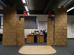 photo coworkers built a 10 foot tall cardboard castle in office cardboard office
