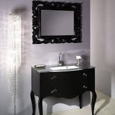 interior bathroom vanity design ideas with cool black wood support single sink under amazing wooden carving frame wall mirror also glamorous floor lamp bathroom bathroom furniture interior ideas mirrored wall