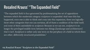 poszu rosalind krauss wrote a fantastic essay in the 1970s called the expanded field in this time period when the concept of sculpture was being expanded
