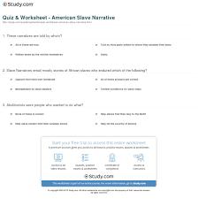 quiz worksheet american slave narrative com print american slave narrative definition overview worksheet