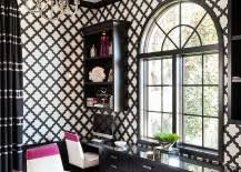 transitional black and white home office infused with a splash of fuchsia black and white home office