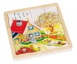 <b>Деревянная игрушка Goki Пазл</b> многослойный Времена года ...