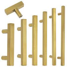 """<b>Kitchen Cabinet</b> Pulls Brass Finish 2-10"""" Modern <b>Square T Bar</b> ..."""