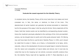 evaluate the causal argument for the identity theory of the mind document image causal analysis essay examples
