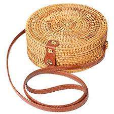 Rattan bag Round Crossbody Woven Bag Bali Beach ... - Amazon.com