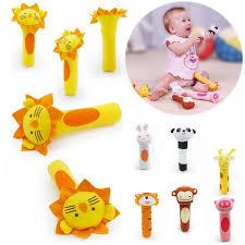 Charm Multi-Color <b>1PC Baby</b> Toys Cartoon <b>Baby</b> Stick <b>Plush</b> Rattle ...