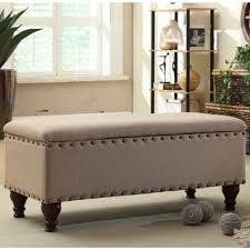 storage bench for living room: upholstered storage bench with nailhead trim by homepop