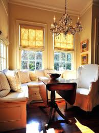 Small Dining Room Storage Bench Seating And Yellow Striped Pillows Attached With Buckles