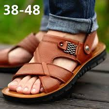 <b>Large Size Sandal Men</b> Summer Casual Beach Leather Sandals ...