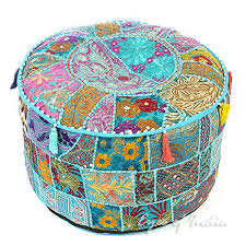 Eyes of India 17 X 12 Small Black <b>Patchwork Round Ottoman Pouf</b> ...