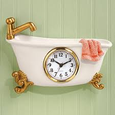 small bathroom clock: claw foot style bathtub clock pb claw foot style bathtub clock
