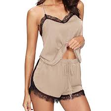 <b>Women's</b> Cami Short <b>Pajama Set Sexy</b> Lace Trim Camosole ...