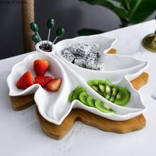 Фарфоровое <b>блюдо для фруктов</b> голубого и <b>белого</b> цвета ...