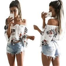 <b>Fashion Sexy Off</b> Shoulder Women T Shirts New 2019 Loose Sleeve ...