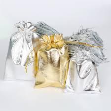 <b>10pcs</b>/<b>lot Gold</b> Silver <b>Color</b> Drawstring Organza Bag Jewelry ...