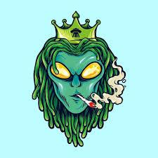 Premium Vector | <b>Alien</b> dreadlock king, <b>weed smoke</b> illustrations