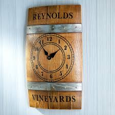wood sign glass decor wooden kitchen wall: personalized wine barrel wall clock  personalized wine barrel wall clock