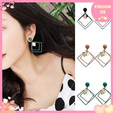 <b>Fashion Simple Geometric</b> Double Layer Square Personality ...