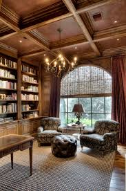 beautiful library love the high ceiling detailing just love it all i want an office that you would walk in and thought an old man owned it beautiful home office delight work