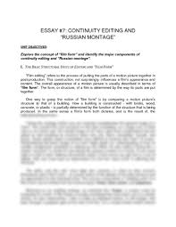 essay continuity editing and russian montage pdf essay 7 continuity editing and russian montage pdf communication theater arts 1003 scheide at university of arkansas fayetteville studyblue