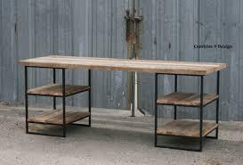 reclaimed wood oak desk with shelves steel custom dimensionsconfigurations awesome custom reclaimed wood office desk