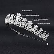 Flowers <b>Cubic Zirconia CZ Wedding Bridal</b> Tiara Crown Diadem ...