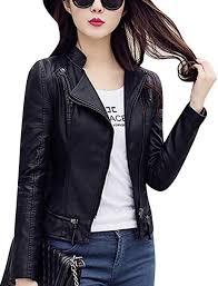 Tanming Women's Spring Slim <b>Stand Collar Motorcycle</b> PU <b>Leather</b> ...