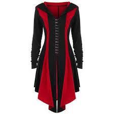 <b>2019 Gothic</b> Long Coat Women Casual Top Fashion <b>Red</b> Hot Sale ...